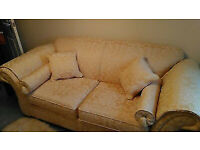 SOFA BED IN GOLD BROCADE WITH MATCHING STORAGE STOOL - PERFECT, NEVER USED: in Sidmouth