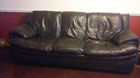 DFS 3 seater dark brown leather sofa-collection cheshunt
