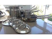 Quality 12 piece stainless steel saucepan set