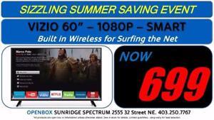 "60"" 1080P HD Smart Vizio TV, 1 Year Warranty"