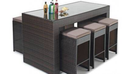 1207 7 pieces Brand New Wicker Rattan Outdoor Bar Set furniture