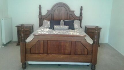 Solid Timber Queen Bed Frame with Therapedic Mattress Ensemble