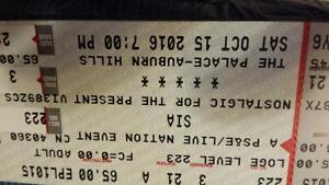 3 Tickets to Sia at the Palace of Auburn Hills Oct 15 2016