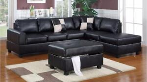 SAVE BIG ON FURNITURE!!! LEATHER SECTIONAL SOFA WITH STORAGE OTTOMAN AND 2 PILLOW FOR 799$ ONLY