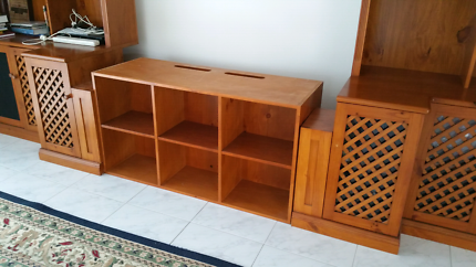 Solid timber custom built entertainment wall unit