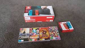 Nintendo Switch Neon Box, accessories, dock, charger, gameboxes St Agnes Tea Tree Gully Area Preview