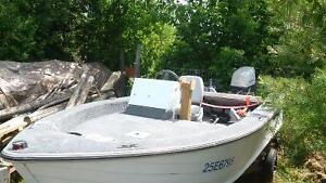 14.5 ft Aluminum fishing boat w/ 55HP Nissan outboard