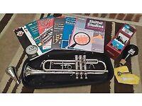 Tristar Bb trumpet, case, books, cds, mutes, 2 mouthpieces bundle
