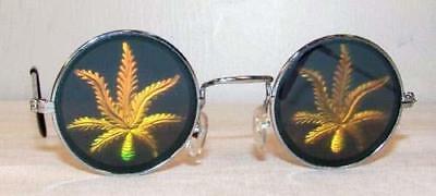 1 PAIR HOLOGRAPHIC POT LEAF GLASSES hologram 3-D unisex HIPPIE new MENS WOMENS](Holographic Sunglasses)
