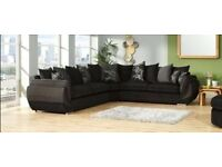 Large Corner Sofa with Matching Footstall - Oatmeal