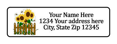 800 Sunflowers Fence Personalized Return Address Labels. 12 Inch By 1 34 Inch