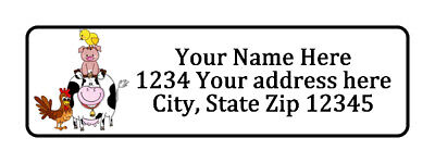 Farm Animals Personalized Return Address Labels 12 In By 1 34 In