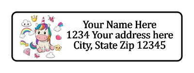 400 Unicorn Personalized Return Address Labels 12 Inch By 1 34 Inch