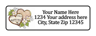800 Hearts And Flower Personalized Return Address Labels. 12 Inch By 1 34 Inch