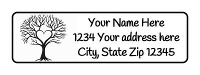 400 Tree Heart Personalized Return Address Labels 12 Inch By 1 34 Inch