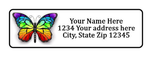 400 Colorful Butterfly Personalized Return Address Labels 1/2 inch by 1 3/4 inch