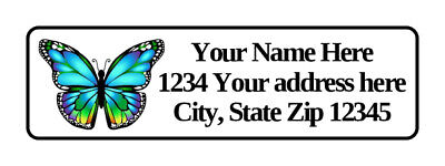 400 Personalized Blue Butterfly Return Address Labels. 12 Inch By 1 34 Inch