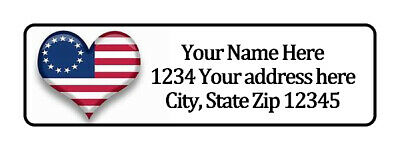1776 Heart Flag Personalized Return Address Labels 12 In By 1 34 In