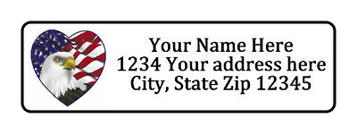 American Flag Eagle Heart Personalized Return Address Labels 1/2 in by 1 3/4 (American Flag Heart)