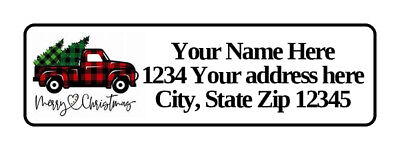 400 Personalized Return Address Labels. Christmas Truck 12 Inch By 1 34 Inch