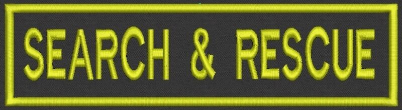 """SEARCH & RESCUE Badge, Tag, Patch, 8"""" x 2"""" - Sew on Or Iron On"""