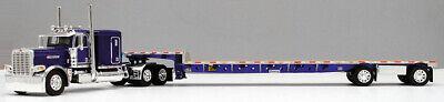 DCP 1/64 SCALE 389 PETERBILT FLAT TOP PURPLE, WITH TRANSCRAFT STEPDECK TRAILER