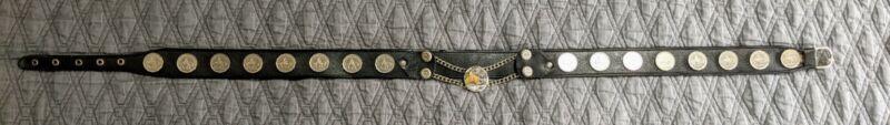 "Gaucho Leather Cowboy Belt Horse 15 coins 1960s Argentina Vintage 36"""
