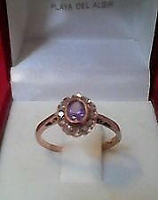 9ct Gold Amethyst Diamond Cluster Ring.
