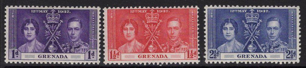 GRENADA SG149/51 1937 CORONATION MTD MINT