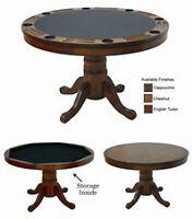 Table de poker en bois massif 2 dans 1 - LIQUIDATION DÉMO
