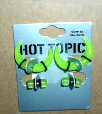 Pincher and Plug earring 4 pack .NEW ..GreenGlowInDark:Hot Topic Cambridge Kitchener Area image 1