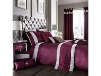 Luxury Duvet Cover Set with Pillow Cases Purple Double King Super King Available