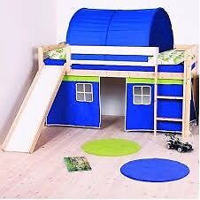 Child's mid sleeper single bed, slide & step ladder, solid pine, off white finish, playhouse below