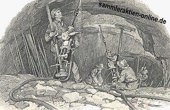 typische Vignette auf einer Goldminenaktie zeigt Arbeiter, die hart arbeiteten, aber professionell ausgestattet waren