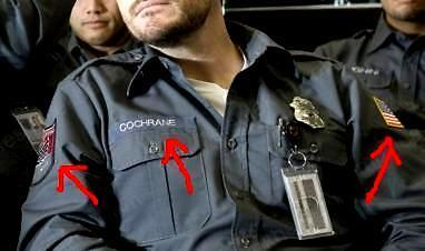 FANCY DRESS HALLOWEEN COSTUME MOVIE ARMORED COCHRANE NAME TAG & SECURITY BADGE