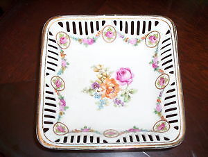 Bavaria Germany Rose Design reticulated candy dish 1940's