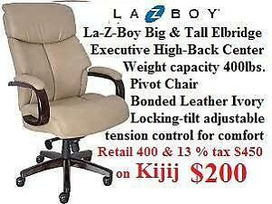 NEW Repackage La-Z-Boy Big & Tall Elbridge Executive High-Back Center Pivot Chair Bonded Leather Ivory