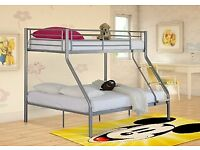 🎆💖🎆EXPRESS DELIVERY🎆💖🎆TRIO METAL BUNK BED FRAME DOUBLE BOTTOM & SINGLE TOP HIGH QUALITY