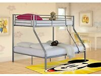 🎆💖🎆EXPRESS DELIVERY🎆💖🎆TRIO METAL BUNK BED FRAME DOUBLE BOTTOM & SINGLE TOP