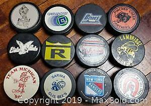 Game Used Hockey Puck Lot Of 12