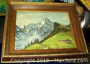 Antique Wood Shadow Box Framed Alpine Landscape Watercolor Painting Signed Sherri Moro