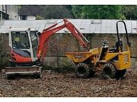 Digger and dumper with driver hire all types of work all plant hire all areas
