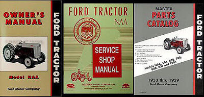 1953 1954 1955 Ford Naa Tractor 3 Manual Set Shop Owners Guide And Parts Book