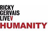 2x Ricky Gervais Tickets - Brighton Centre - Tuesday 9th May - 09.05.17 - West Balcony Row K