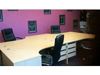 4 desks and chairs for sale.