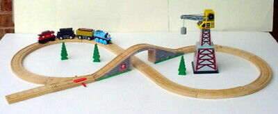Thomas Wooden Railway Train Track Set Sodor 4 Cars Maron Knapford Bridge Tunnel
