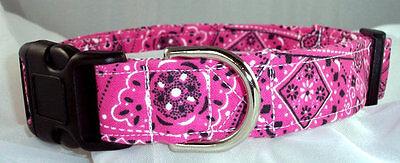 Pink Bandana buckle dog collar, martingale with leash set op
