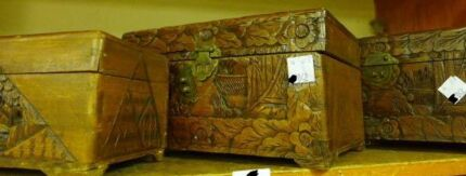 Vintage 1920s Camphorwood chest, camphor wood, carved box Taylors Lakes Brimbank Area Preview