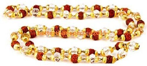 5 MUKHI RUDRAKSHA MALA -RUDRAKSH 24 CARAT GOLD PLATED CAP WITH NATURAL CRYSTALS