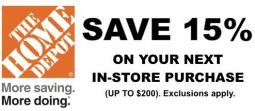ONE 1X 15% OFF Home Depot Coupon - In store ONLY Save up to $200 HD First Class
